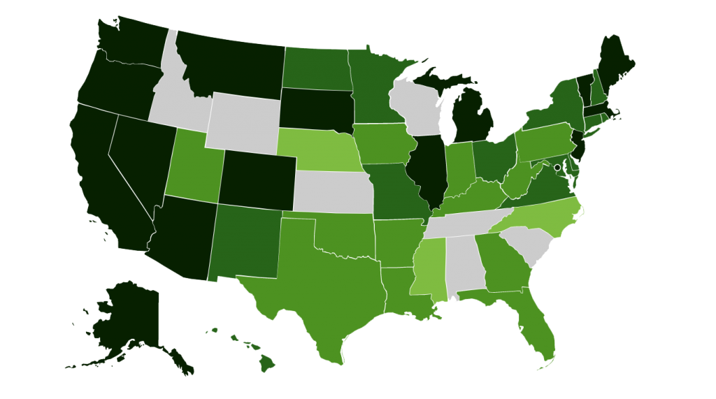 MAP OF MARIJUANA LEGALITY BY STATE